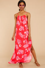 6 Keep Talking Red And Pink Palm Print Maxi Dress at reddressboutique.com