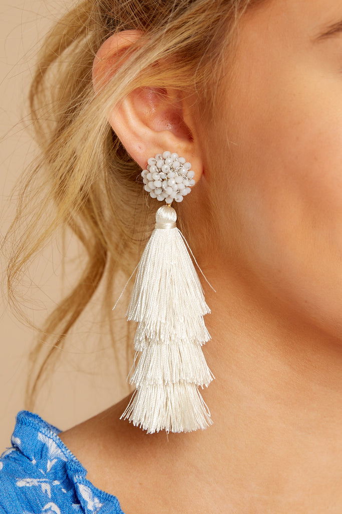 1 A Little Surprised Light Grey Tassel Earrings at reddressboutique.com