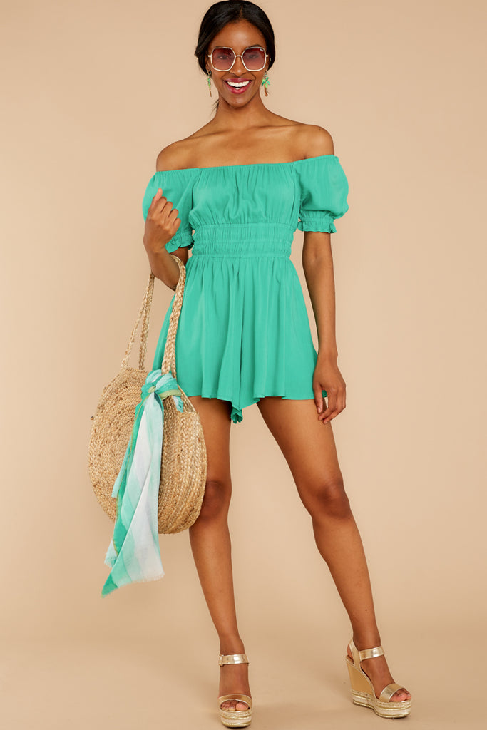 c72dbc987a93 Sally Forth Spearmint Off The Shoulder Romper