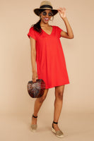 V-neck Dolman Short Sleeves Sleeves Pocketed Shirt Dress