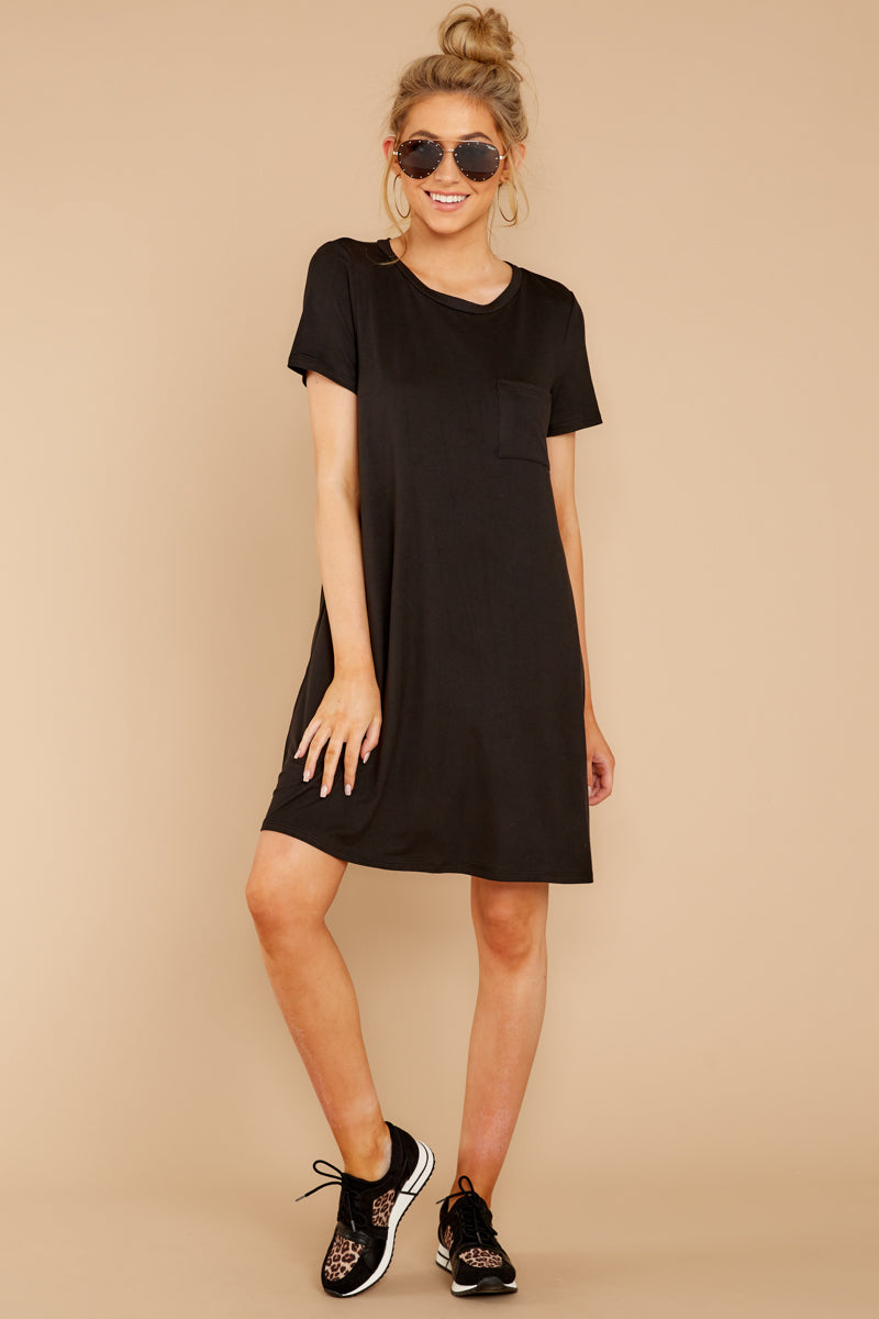 1 Smiling Trail Black T-Shirt Dress at reddressboutique.com