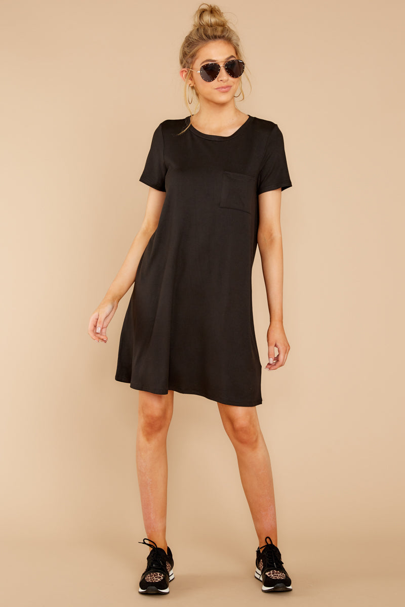 2 Smiling Trail Black T-Shirt Dress at reddressboutique.com