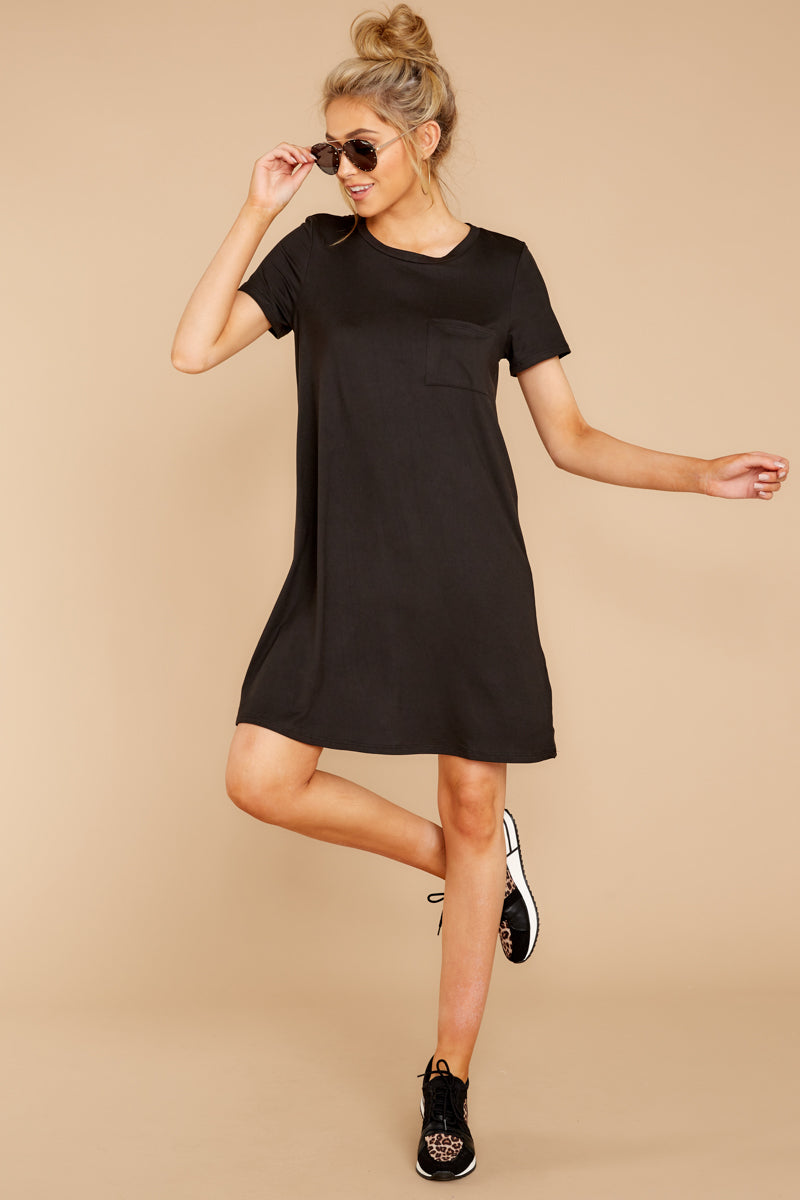 3 Smiling Trail Black T-Shirt Dress at reddressboutique.com