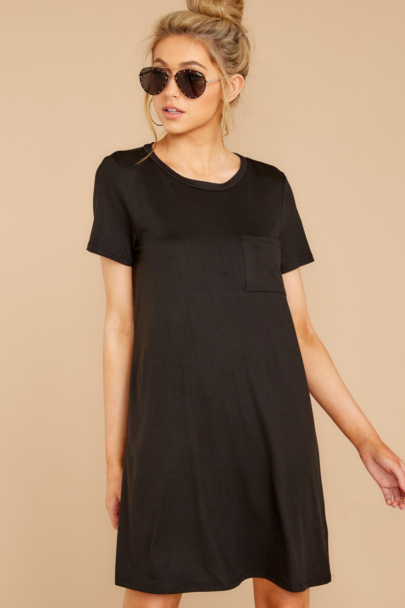 4 Smiling Trail Black T-Shirt Dress at reddressboutique.com