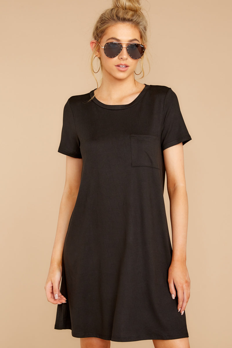 5 Smiling Trail Black T-Shirt Dress at reddressboutique.com