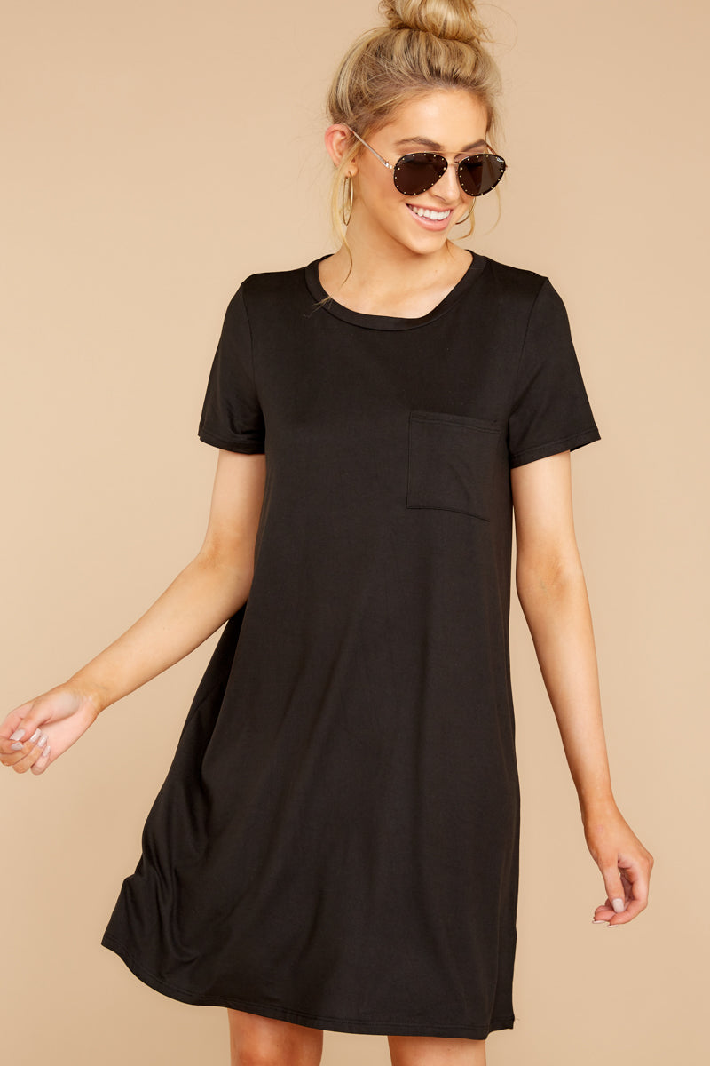 6 Smiling Trail Black T-Shirt Dress at reddressboutique.com