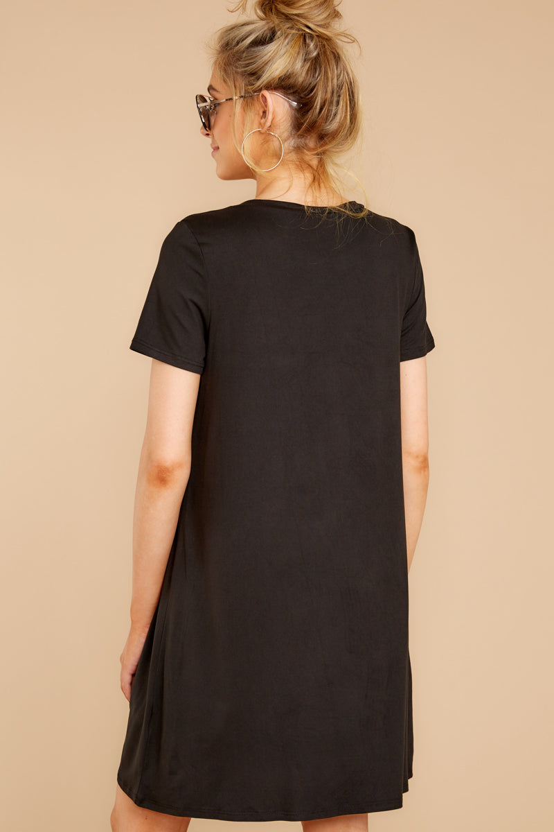 7 Smiling Trail Black T-Shirt Dress at reddressboutique.com