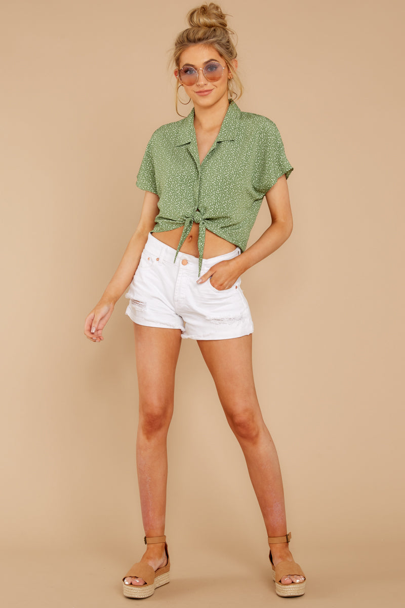 2 Keep Her Wild Green Print Tie Top at reddressboutique.com