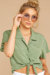 3 Keep Her Wild Green Print Tie Top at reddressboutique.com