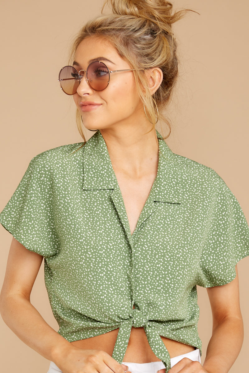 4 Keep Her Wild Green Print Tie Top at reddressboutique.com