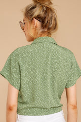6 Keep Her Wild Green Print Tie Top at reddressboutique.com