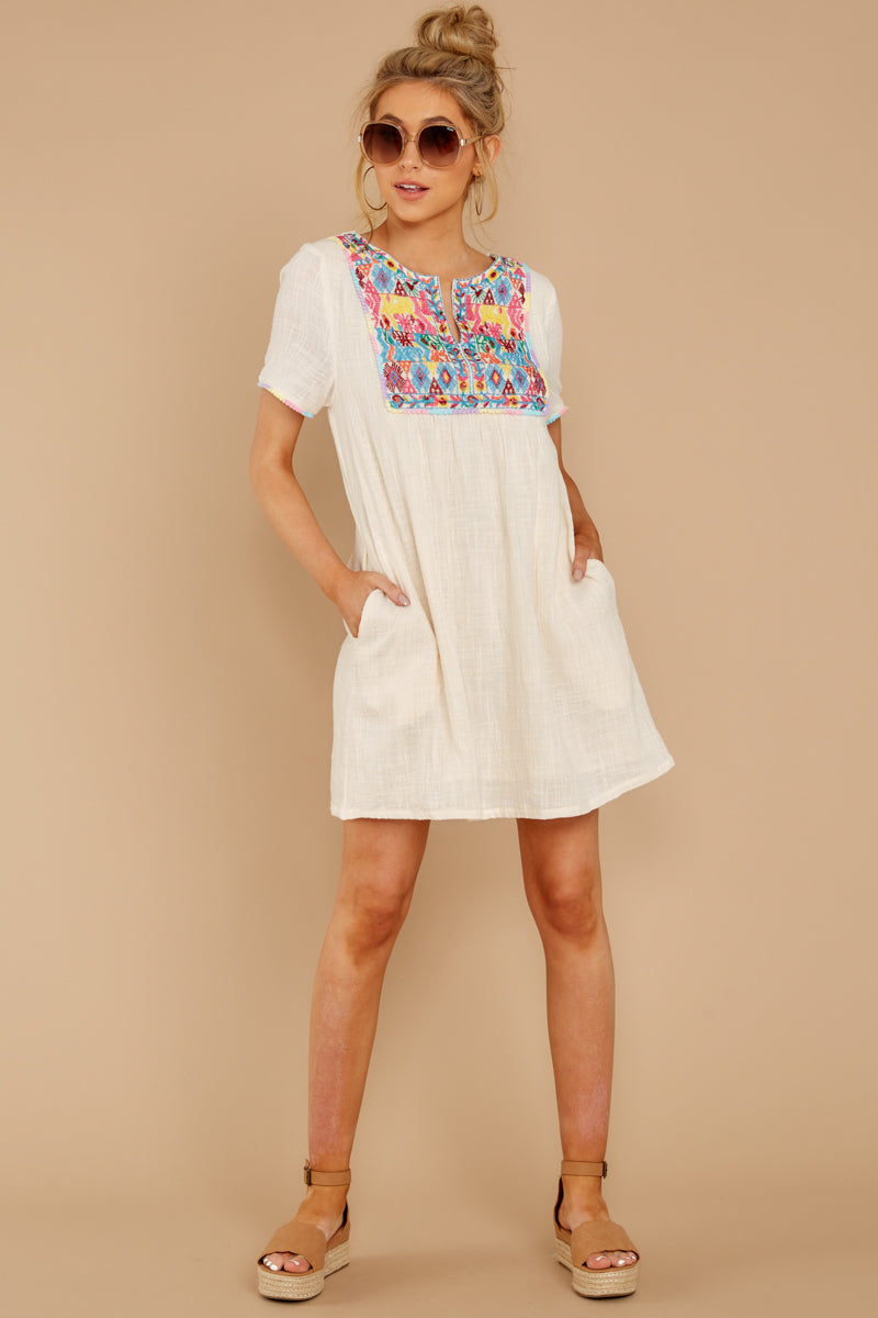 Not A Dream Cream Embroidered Dress