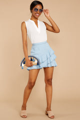 5 Comes In Waves Light Blue Skirt at reddressboutique.com