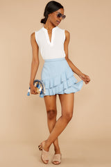 4 Comes In Waves Light Blue Skirt at reddressboutique.com
