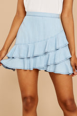 1 Comes In Waves Light Blue Skirt at reddressboutique.com