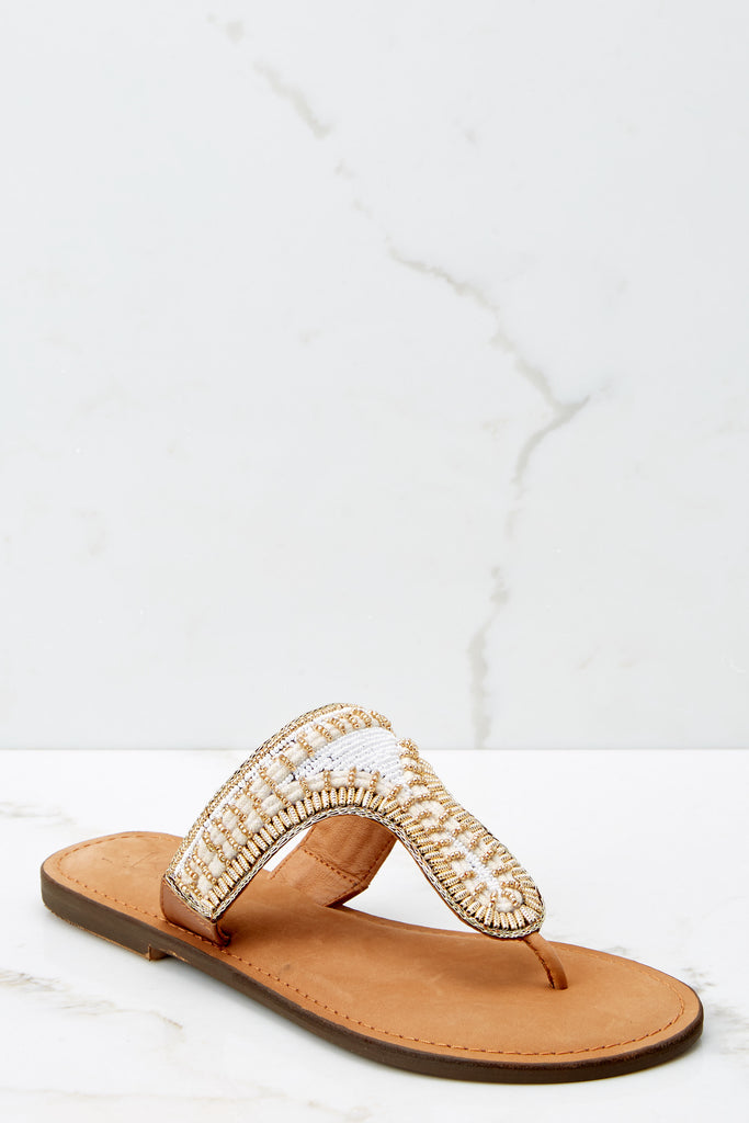 1 Make Things Easy Gold Sandals at reddressboutique.com