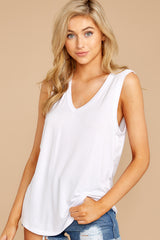 6 Know Something White Tank Top at reddressboutique.com
