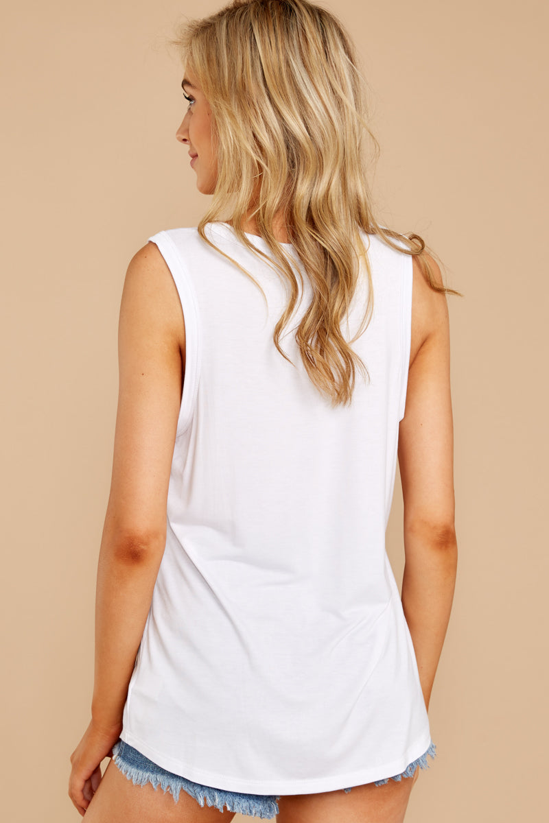 7 Know Something White Tank Top at reddressboutique.com