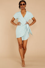 3 Roll The Dice Pale Mint Print Wrap Dress at reddressboutique.com