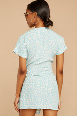 7 Roll The Dice Pale Mint Print Wrap Dress at reddressboutique.com