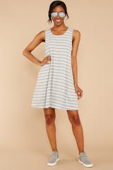 1 Do I Know You Grey Stripe Dress at reddressboutique.com