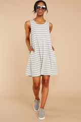 2 Do I Know You Grey Stripe Dress at reddressboutique.com