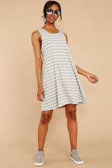 3 Do I Know You Grey Stripe Dress at reddressboutique.com