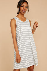 4 Do I Know You Grey Stripe Dress at reddressboutique.com