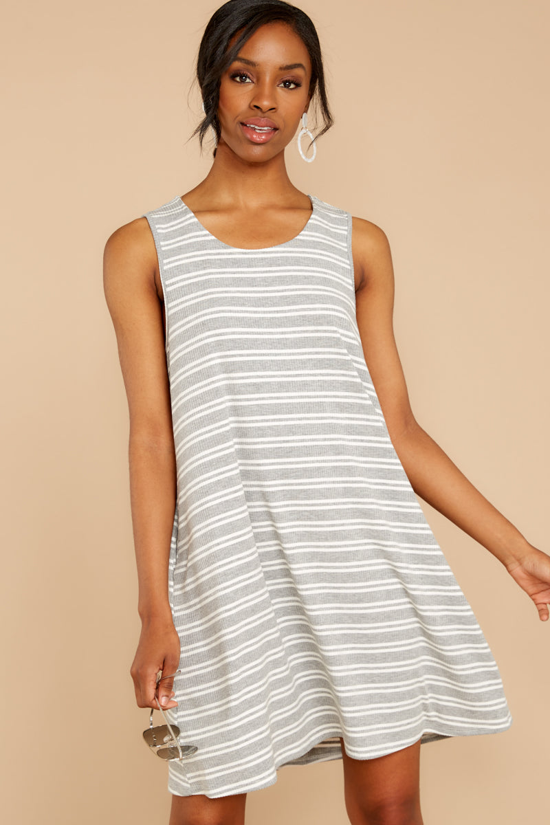 5 Do I Know You Grey Stripe Dress at reddressboutique.com