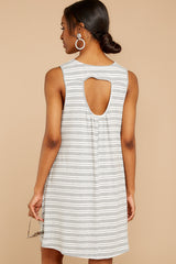 7 Do I Know You Grey Stripe Dress at reddressboutique.com