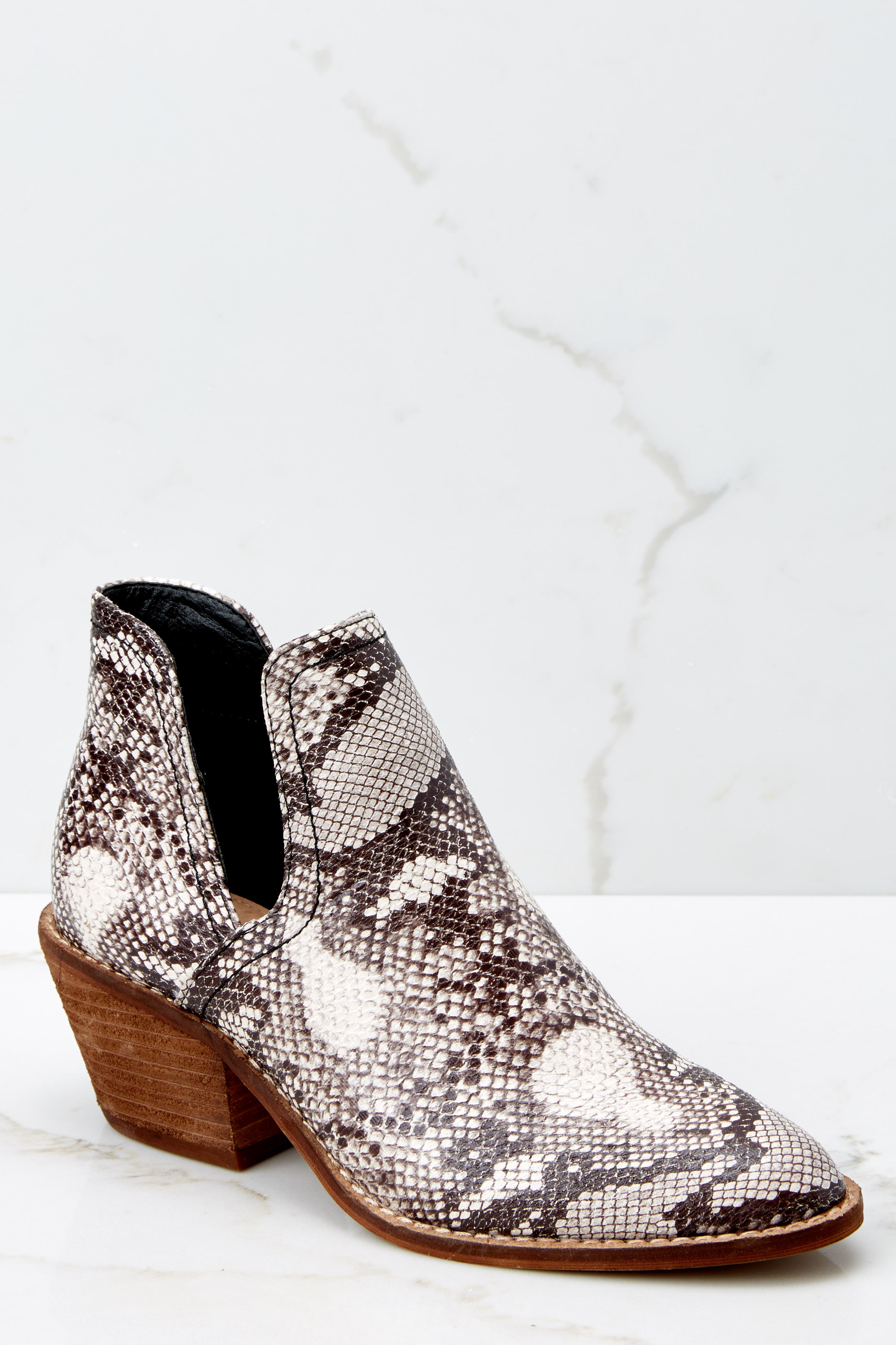 1 Breaking Wild Snake Print Ankle Boots at reddressboutique.com