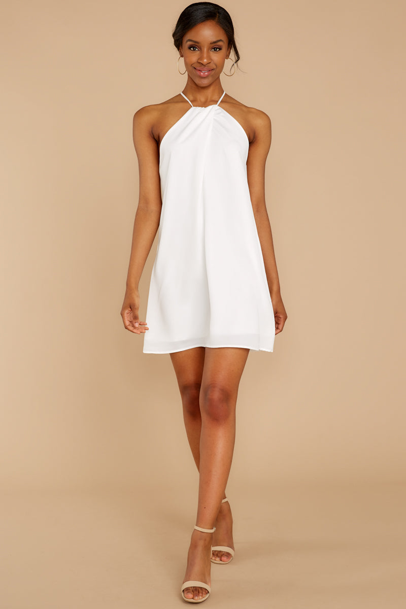 efb3a048ee Sleek White Halter Dress - Short White Sun Dress - Dress -  46.00 ...