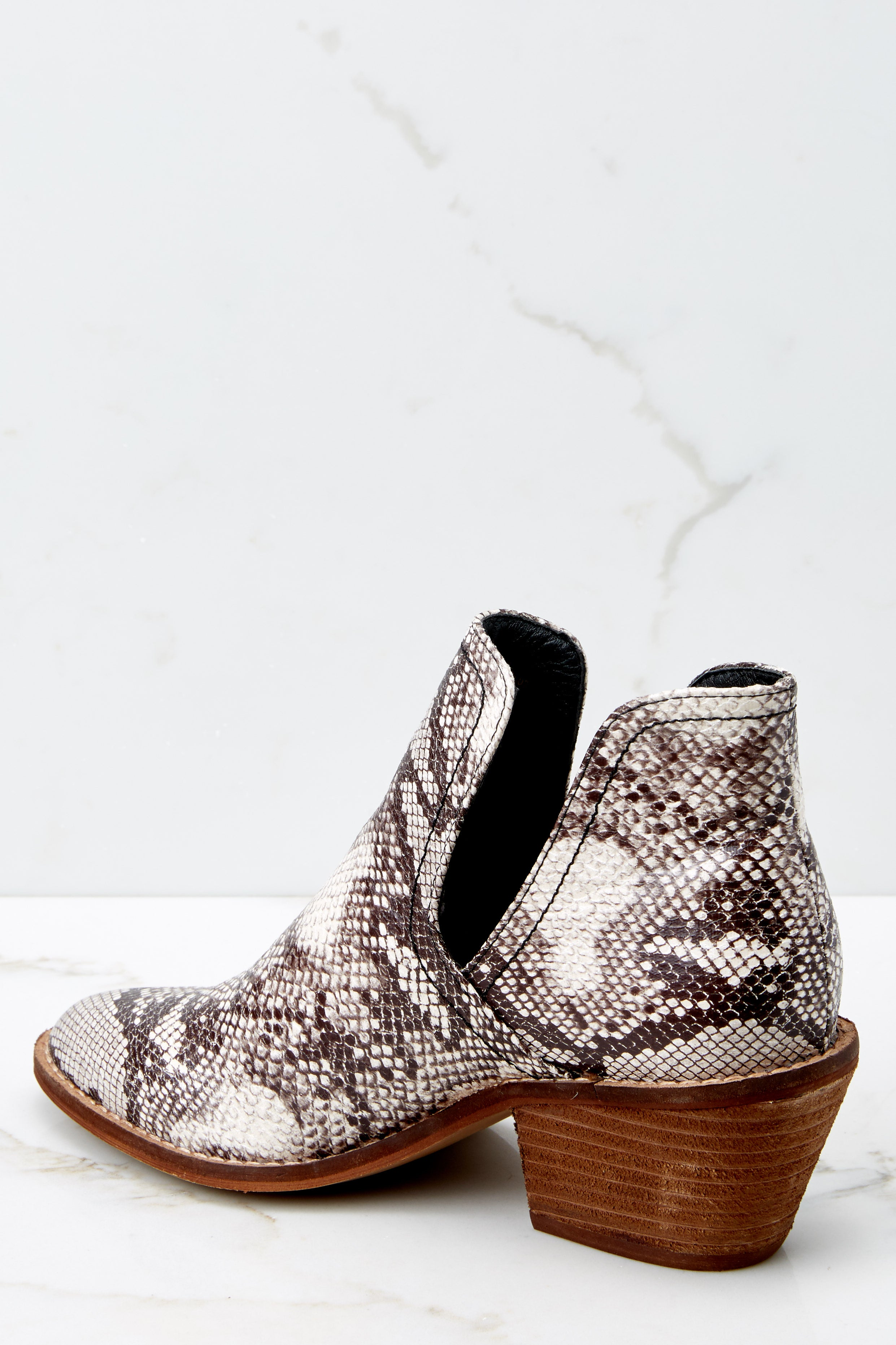 3 Breaking Wild Snake Print Ankle Boots at reddressboutique.com