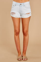 2 Somewhere Safe Light Wash Distressed Denim Shorts at reddressboutique.com