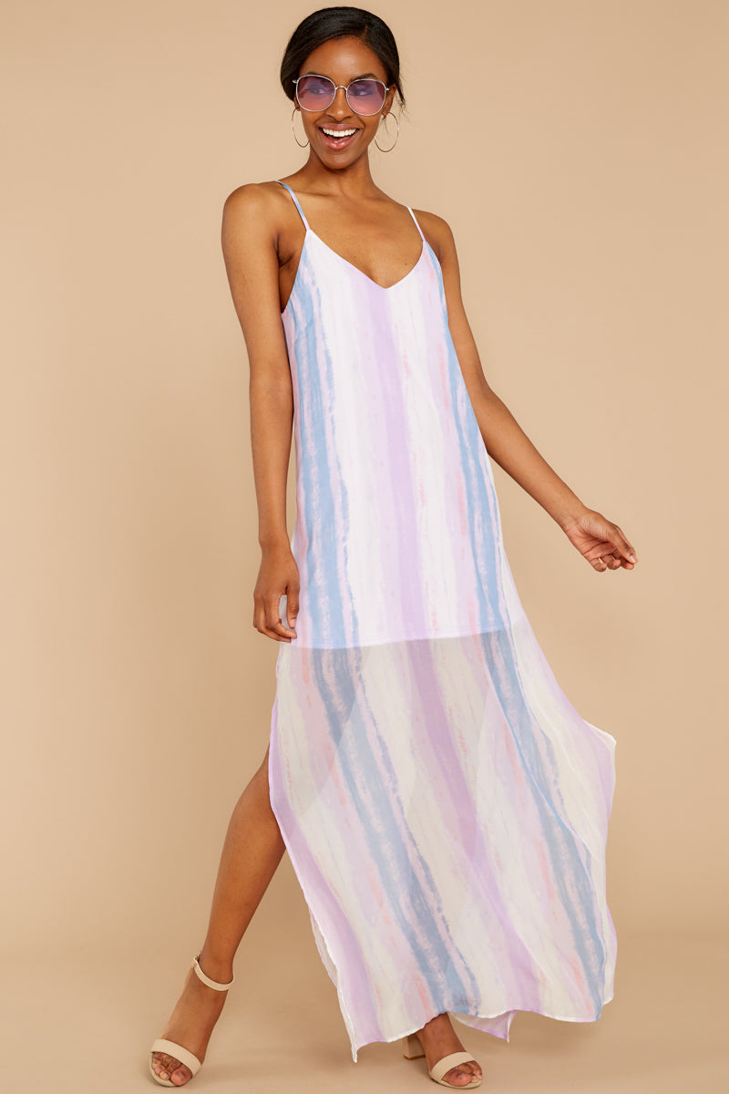 1 My Favorite Thought Lavender Multi Maxi Dress at reddressboutique.com