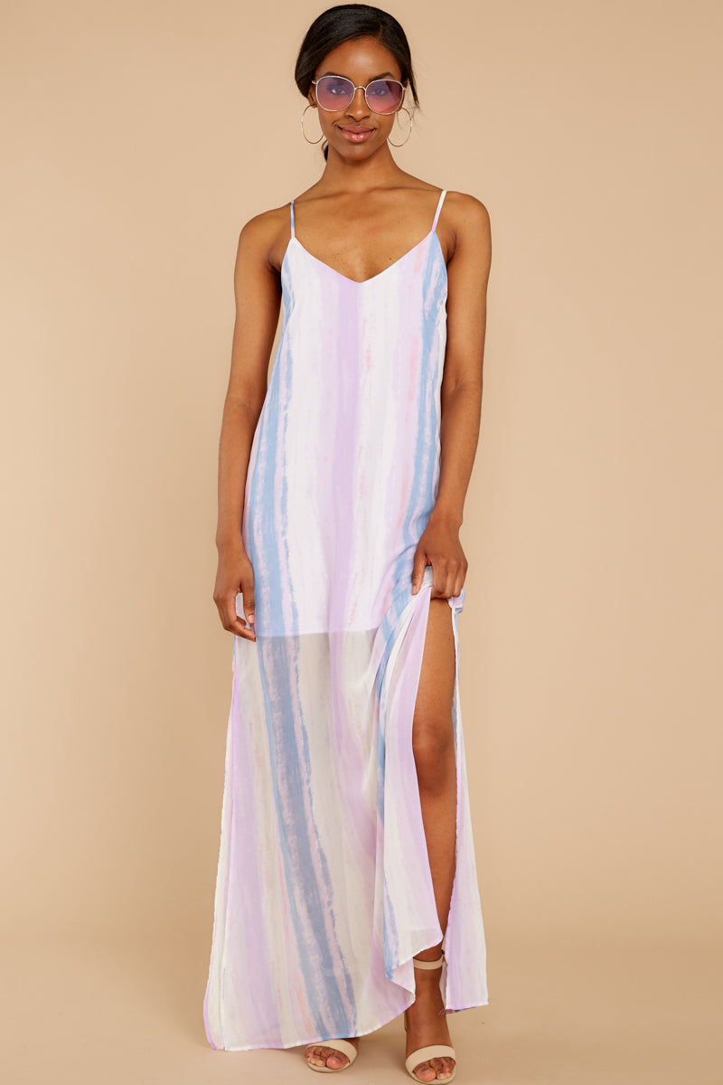 4 My Favorite Thought Lavender Multi Maxi Dress at reddressboutique.com