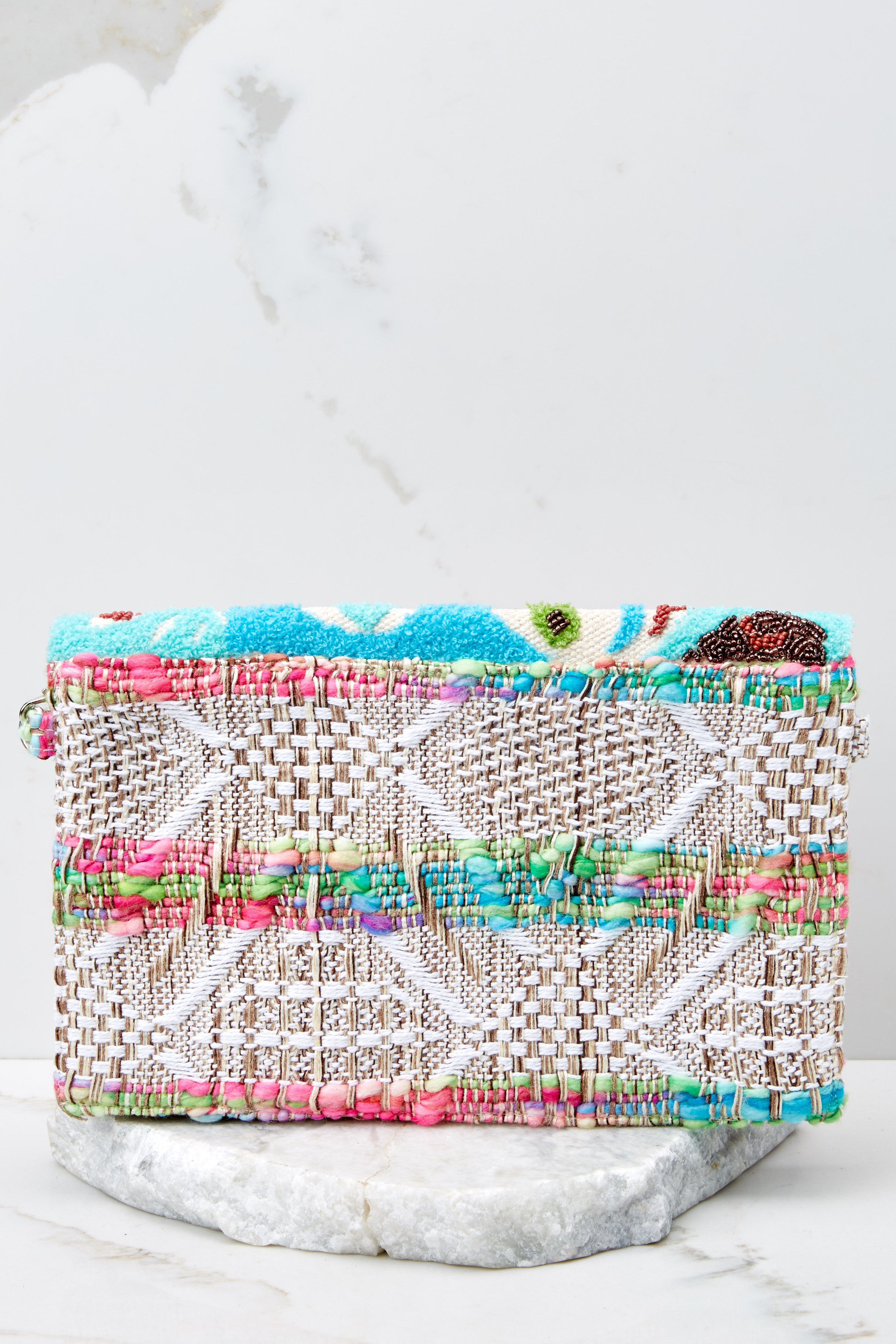 Floral Time Multi Embroidered Clutch