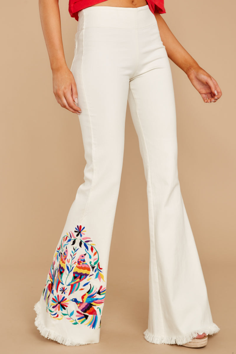 nice shoes great deals sale Point Of Love White Embroidered Flare Jeans