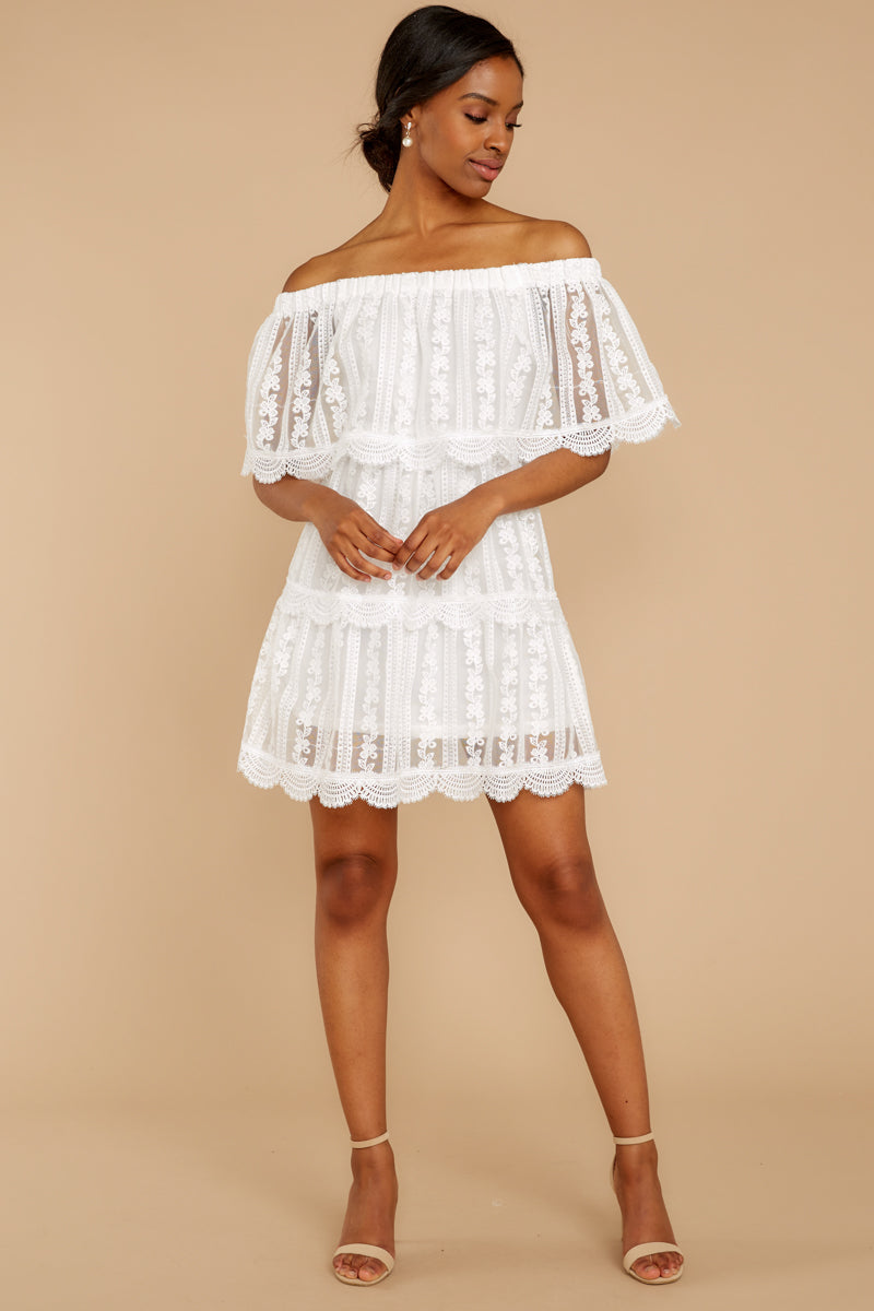 3 Single For Now White Lace Dress at reddressboutique.com