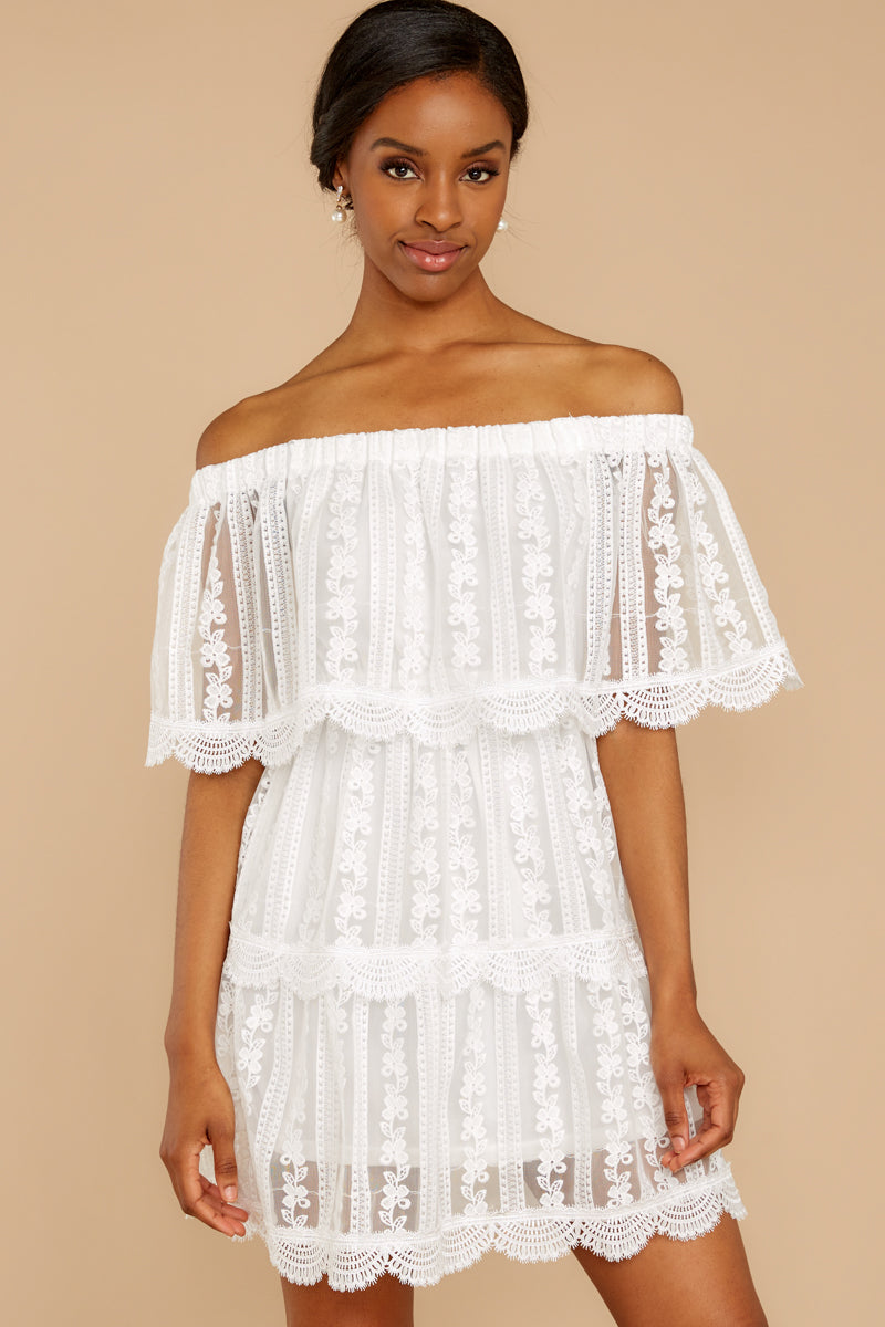 5 Single For Now White Lace Dress at reddressboutique.com
