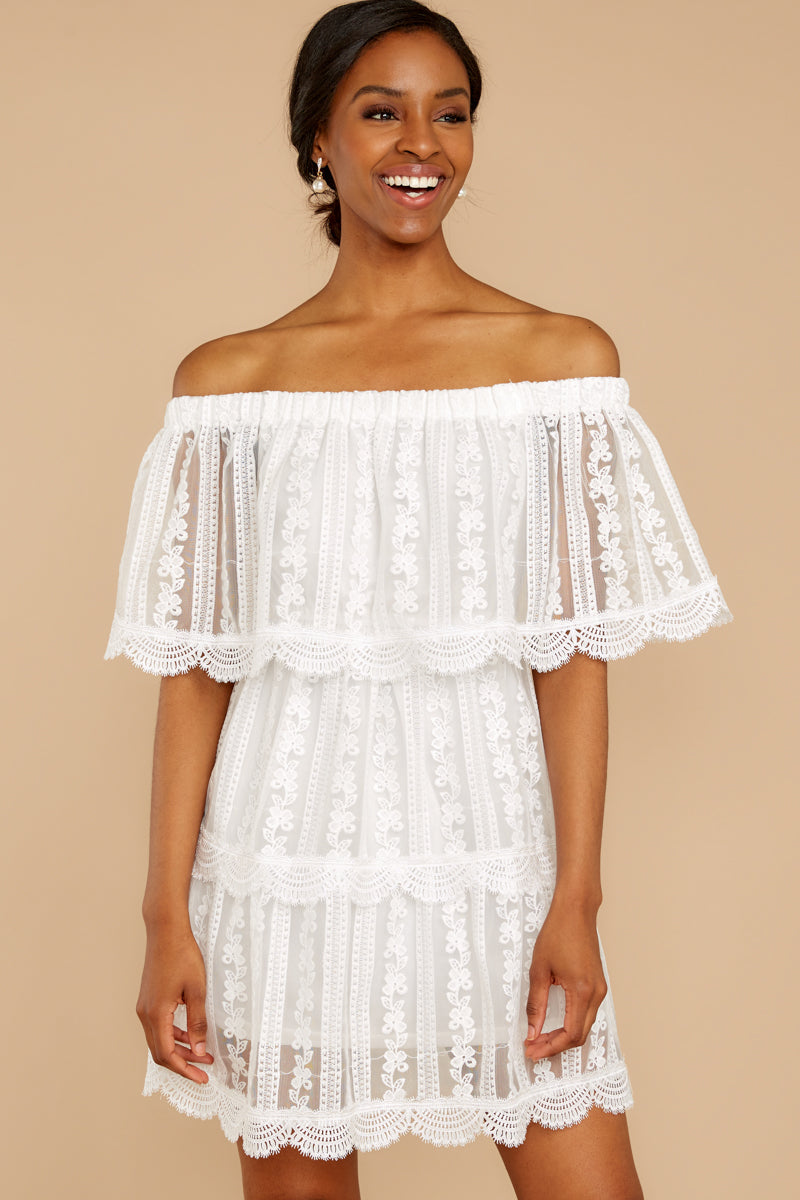 6 Single For Now White Lace Dress at reddressboutique.com