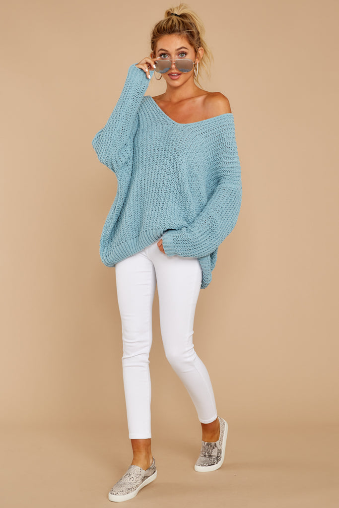 1 Wandering Through Winter Dusty Blue Sweater at reddressboutique.com