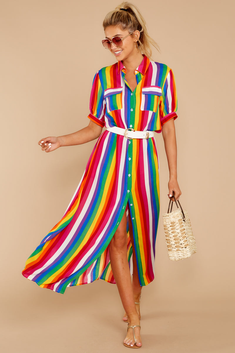 1 Jubilee With Me Rainbow Stripe Button Up Maxi Dress at reddressboutique.com