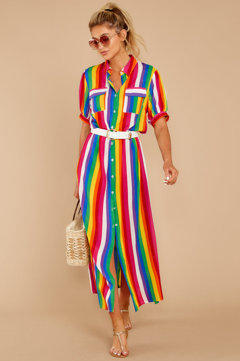 2 Jubilee With Me Rainbow Stripe Button Up Maxi Dress at reddressboutique.com