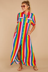 4 Jubilee With Me Rainbow Stripe Button Up Maxi Dress at reddressboutique.com