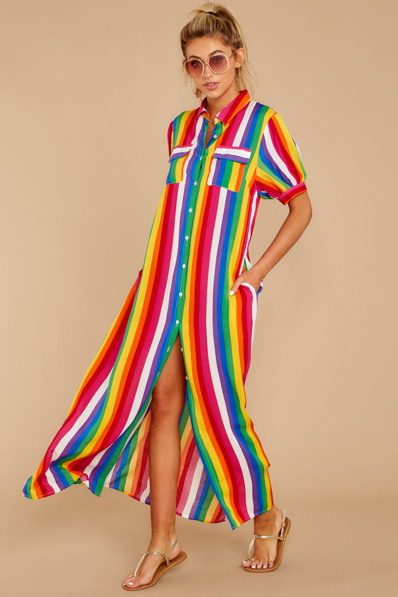 5 Jubilee With Me Rainbow Stripe Button Up Maxi Dress at reddressboutique.com