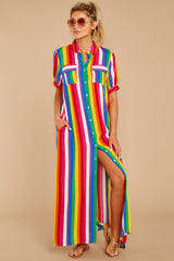 6 Jubilee With Me Rainbow Stripe Button Up Maxi Dress at reddressboutique.com