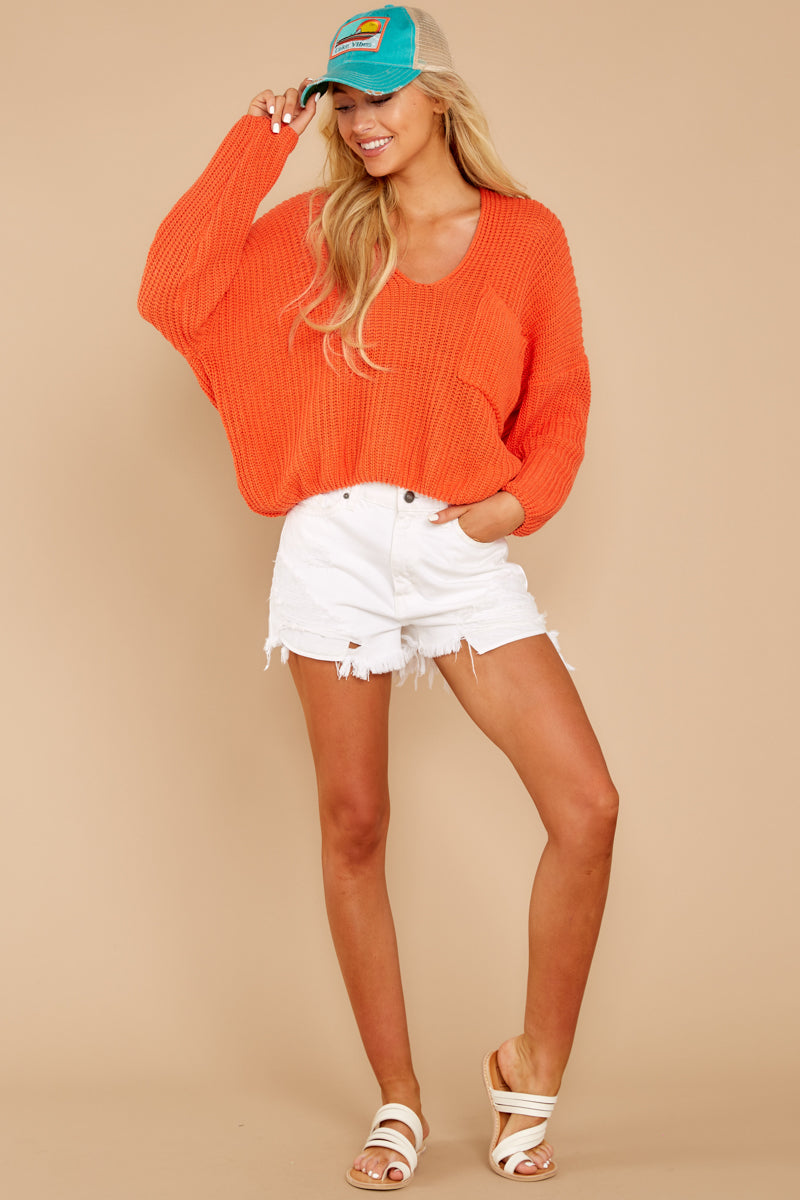 1 Keep Things Peaceful Bright Orange Sweater at reddressboutique.com