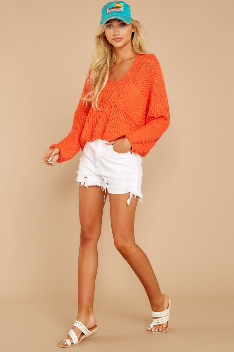 2 Keep Things Peaceful Bright Orange Sweater at reddressboutique.com