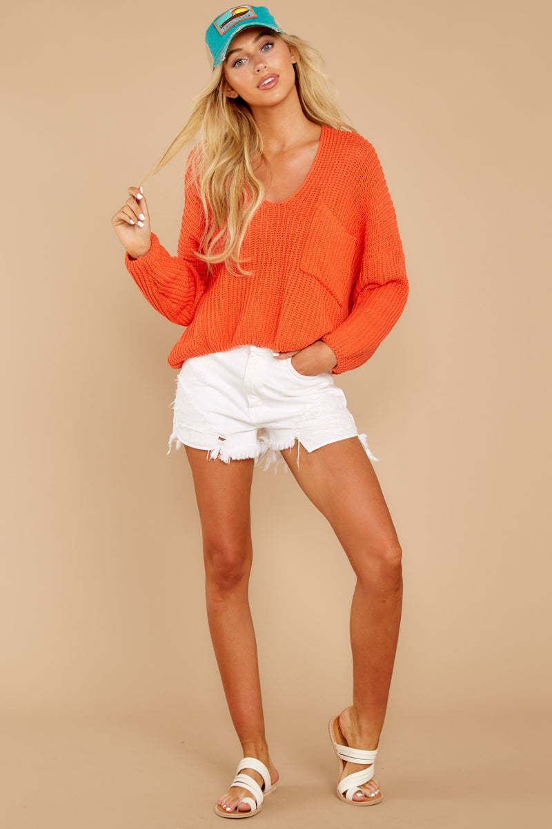 3 Keep Things Peaceful Bright Orange Sweater at reddressboutique.com